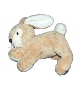 DOUDOU ET COMPAGNIE - Lapin Lievre beige marron clair Fleur blanche 18 cm