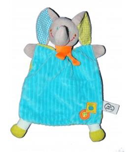 Doudou plat Elephant bleu Vert MOTS D'ENFANTS Siplec Leclerc 579/1962