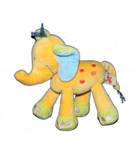 Doudou Elephant jaune orange Laine bleue Nicotoy 579/5150 18 cm