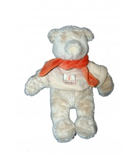 Doudou Peluche Ours Linvosges Moulin Roty 32 cm Pull Echarpe