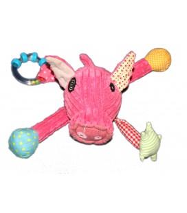 Doudou peluche Cochon rose Les Deglingos Discovery Eveil activité