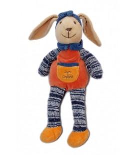 DOUDOU ET COMPaGNIE - LaPIN orange bleu tricot - 32 cm
