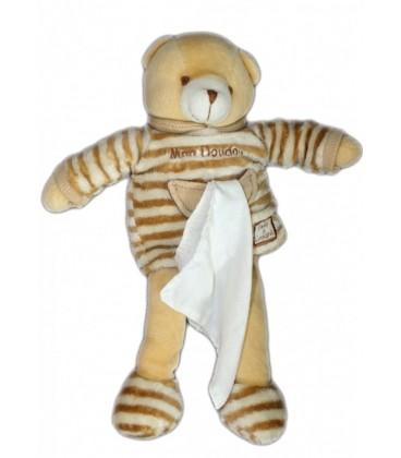 DOUDOU ET COMPaGNIE - OURS beige Rayures 'Mon Doudou' - Mouchoir Blanc - 28 cm