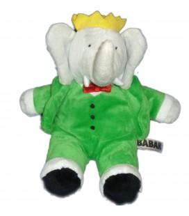 Peluche Doudou Elephant BABAR Lansay gris vert 26 cm