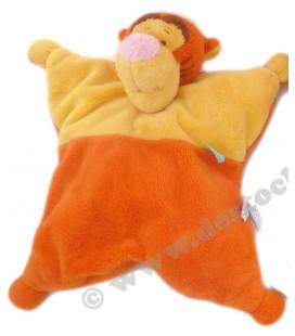 Doudou coussin Tigrou jaune orange Disney Baby Fleur Bleue