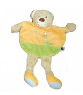 Doudou plat ours orange vert TEX Baby Carrefour Girafe brodée