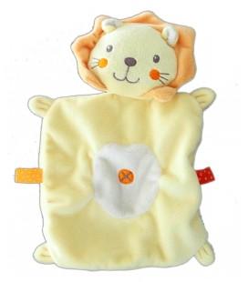 Doudou plat LION jaune orange NICOTOY - Croix - Etiquettes oranges