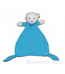 Doudou OURS bleu pois blancs Musti de Mustela - Losange Noeud Papillon 9064
