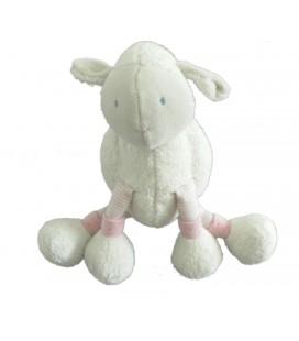 Doudou Mouton blanc rose Lila MOULIN ROTY 18 cm