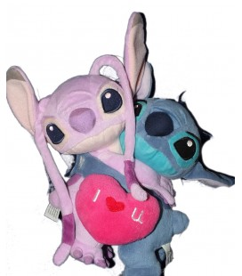 Peluche Angel et Lilo Coeur I Love You - LILO et STITCH H 22 cm - Disney Disneyland Paris