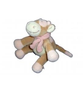 Doudou vache beige rose blanc Lola NOUKIES Noukie s 14 cm