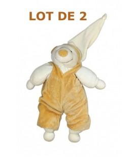 LOT DE 2 - DOUDOU ET COMPAGNIE - OURS écru beige blanc Fripon - 30 cm