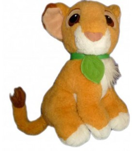 Peluche doudou LE ROI LION Simba Disney Authentic Mattel 1993 Feuille Verte 25 cm