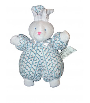 Doudou LaPIN bleu blanc CaLIN ET BISOU - Grelot - 30 cm