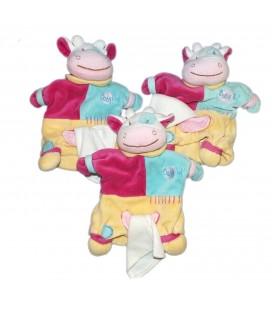 LOT DE 3 * Doudou Marionnette Vache rose bleu jaune Baby Nat'