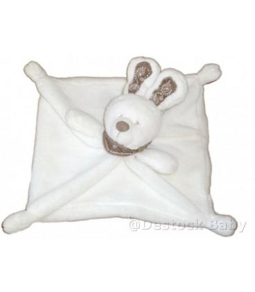 Doudou plat LAPIN blanc NICOTOY Bandana Foulard marron taupe