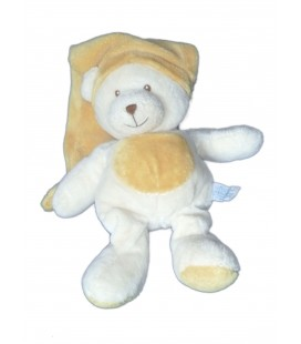 Doudou peluche OURS blanc jaune moutarde orange GIPSY 26 cm