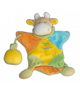 DOUDOU ET COMPAGNIE - Marionnette VACHE - Orange jaune bleu vert - Pomme