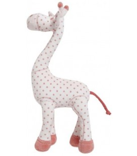 Doudou Girafe blanc rose Etoiles Grelot - TAPE A L'OEIL - 30 cm