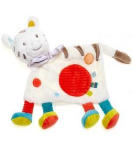 Doudou plat Zèbre blanc rond rouge Nicotoy Simba Toys