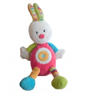 Doudou Peluche LAPIN rose orange vert BABYSUN 40 cm ** NE FONCTIONNE PLUS
