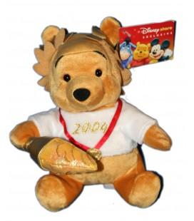 COLLECTOR - Doudou Peluche WINNIE L'OURSON 2004 Jeux Olympiques H 15 cm Walt Disney Store Exclusive London