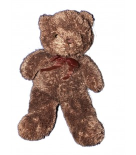 Peluche OURS Marron Noeud - AUBERT - H 48 cm