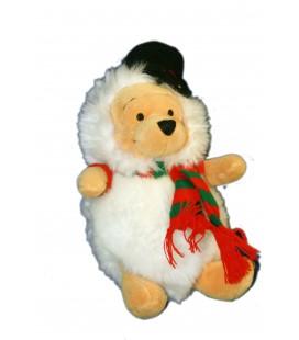 COLLECTOR - Peluche Doudou WINNIE L'OURSON Bonhomme de neige H 23 cm Snowman Pooh Disney Store