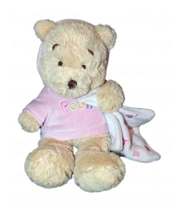 Peluche Doudou Winnie l'Ourson Pull capuche rose Mouchoir Blanc abc H 32 cm Disney Store Exclusive
