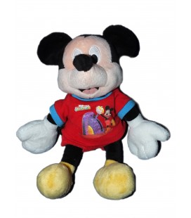 Doudou peluche MICKEY Club House - T-shirt short rouge bleu H 26 cm Disney Nicotoy