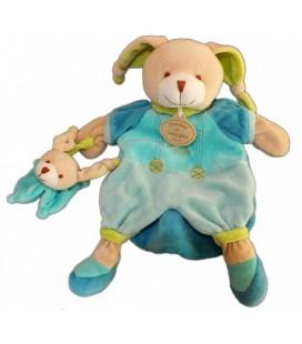 DOUDOU ET COMPaGNIE - Marionnette LaPIN bleu - Pinou et son bébé