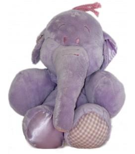 Doudou peluche LUMPY Efelant Elephant mauve Carreaux Vichy Disney Nicotoy 28/35 cm 587/6896
