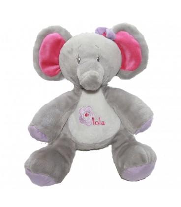 Doudou peluche - ELEPHANT gris rose Bébisol - Arthur et Lola Assis 20 cm