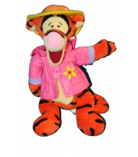COLLECTOR - Peluche Doudou Tigrou Chapeau Manteau rose Spring Shower 23 cm Disney Store