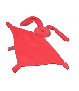 Doudou plat rouge Lapin Lapidou NATTOU 2 noeuds Attache tétine scratch