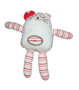 Doudou chat qui rit qui dort blanc rouge - Brioche Kimbaloo La Halle ! 26 cm