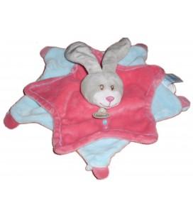 Doudou plat Lapin rose bleu Stella - BABY NAT' BN626