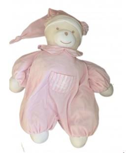 Doudou Peluche Range pyjama Ours Rose Rayures TARTINE ET CHOCOLAT - H 62 cm