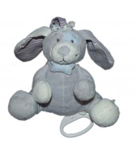 Doudou peluche musicale chien gris bleu os Noukies 18 cm