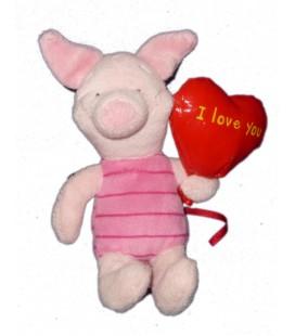 Doudou peluche PORCINET Coeur ballon I love you 20 cm - Disney Nicotoy