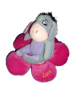 Peluche doudou Bourriquet Coeur Fleur mauve I Love You Disney Nicotoy H 18 cm
