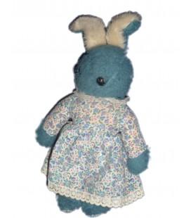 VINTAGE - Très rare ! Doudou peluche Lapin bleu blanc Robe à fleur 32 cm AJENA