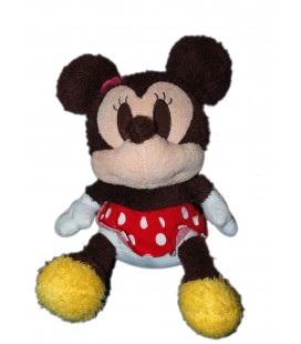 Peluche doudou MINNIE Disney 35 cm marron robe rouge fourrure Grand Smart