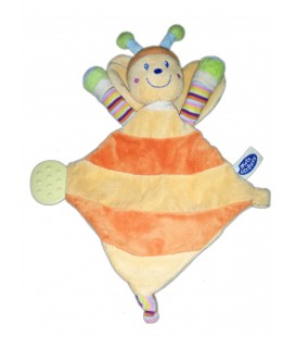 Doudou plat PaPILLON Jaune orange MOTS D'ENFaNTS H 27 cm