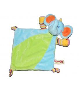 Doudou Plat Elephant bleu vert orange Nicotoy 579/7347