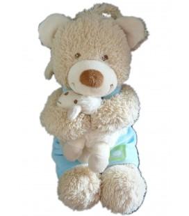 Doudou Peluche Musicale Ours bleu vert Mouton - Tex Baby CMI Carrefour 26 cm