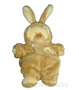 Doudou OURS déguisé lapin NICOTOY Beige marron clair crême H 28 cm avec les oreilles