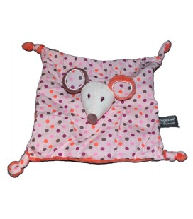 Doudou plat Souris rose orange pois Orchestra Premaman 4 noeuds
