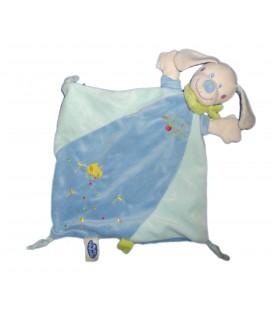 Doudou plat CHIEN bleu foulard vert poussin brodé MOTS D'ENFANTS