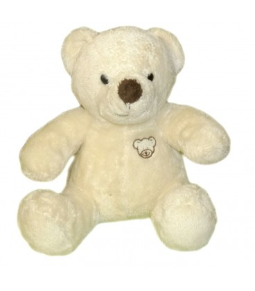 Doudou peluche OURS blanc ecru creme Animal Alley Idem Nicotoy